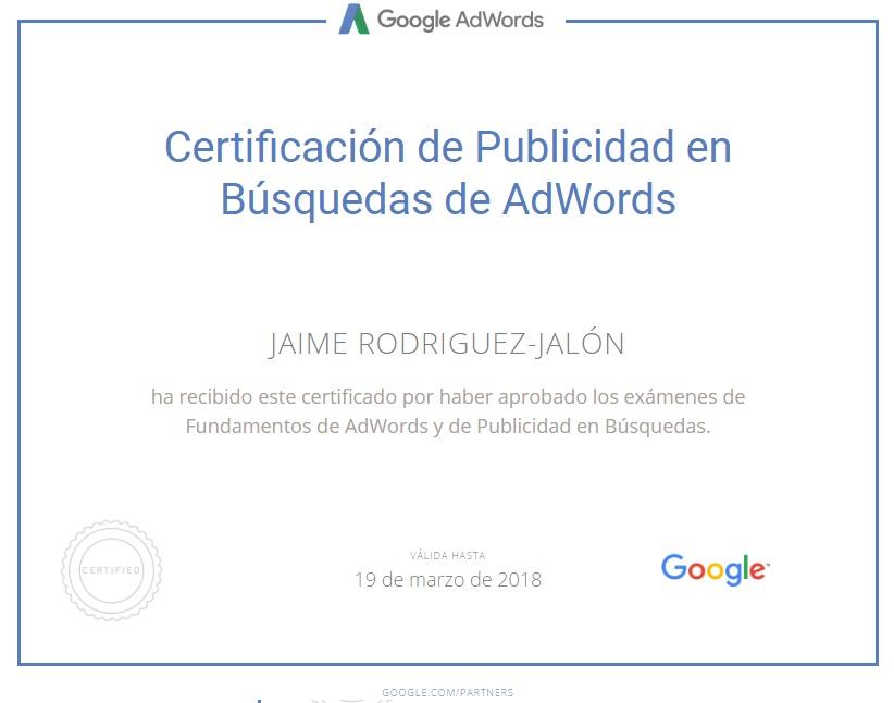 Jaime Rodriguez Jalon Certificado Publicidad en Busquedas de AdWords