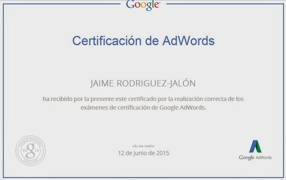 Jaime Rodriguez Jalon Certificado Google AdWord