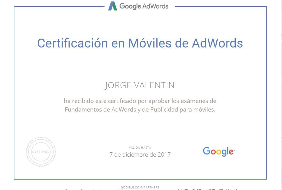Certificado Google Adwords Jorge Valentin
