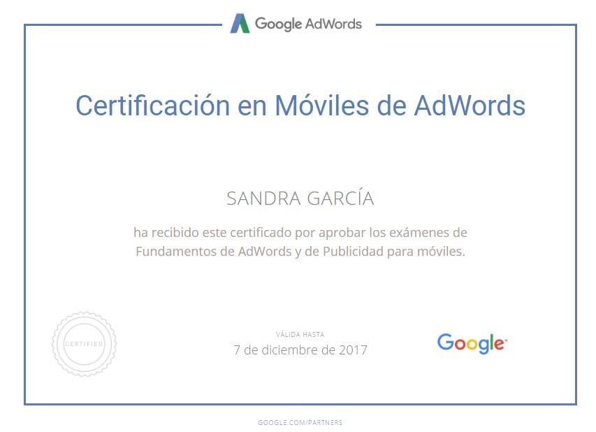 Certificado Google Adwords Sandra Garcia