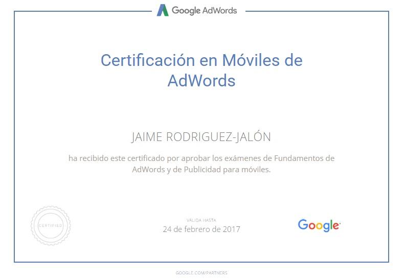 Jaime Rodriguez Jalon Certificado Publicidad en Moviles de AdWords