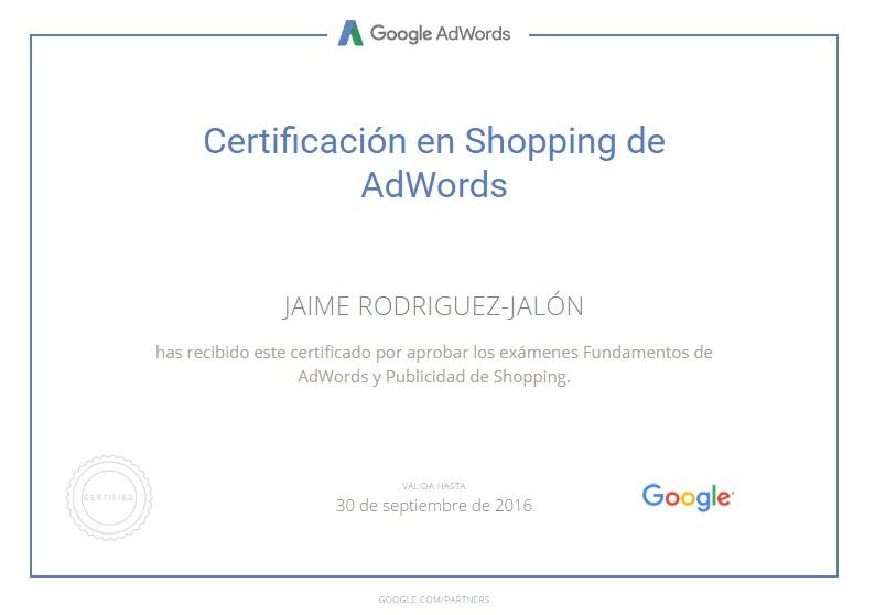 Jaime Rodriguez Jalon Certificado Publicidad en Shopping de Google AdWord