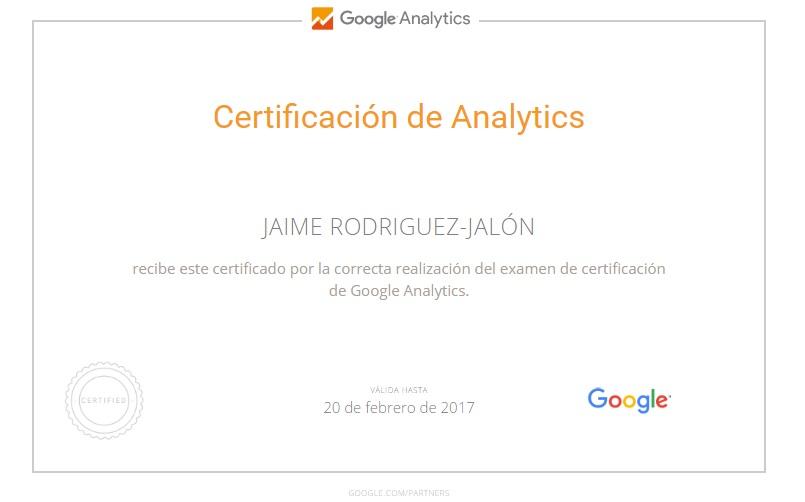 Jaime Rodriguez Jalon Certificado de Analytic