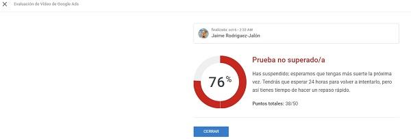 evaluacion de video de Google Ads